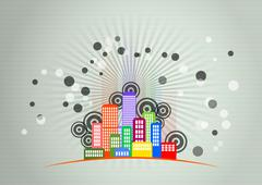 illustration of urban city skyline with graphic signs - stock illustration