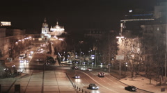 Night Kyiv view from Saint Sophia's Cathedral Stock Footage