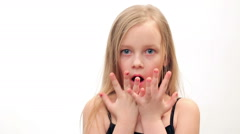 Little girl  something had happened, surprisingly, Stock Footage