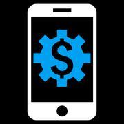 Mobile Bank Setup Flat Vector Icon - stock illustration