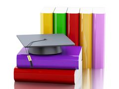 3d graduation cap and stack of Books. - stock illustration