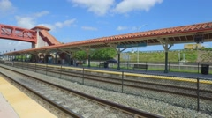 Video of the TRi-rail and amtrak station Hollywood FL Stock Footage