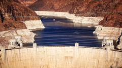 Aerial View of Hoover Dam and Lake Mead - stock photo