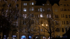 Decorated trees seen at Christmas on Pařížská street, Prague Stock Footage