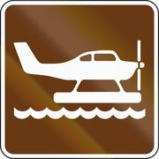United States MUTCD guide road sign - Waterplane area - stock illustration