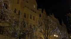 Trees seen at Christmas on Pařížská street in the old town of Prague Stock Footage