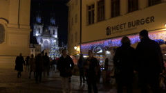 The Church of our Lady before Tyn seen on a Christmas night in Prague Stock Footage