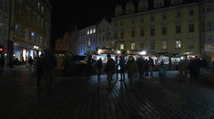 Night Christmas Market in the city center of Prague Stock Footage