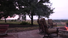Fire pit on a back porch with fire Stock Footage