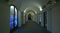 The Art Passage seen at night on Christmas in Prague Stock Footage