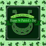 Happy St Patricks Day Lucky Horseshoe - stock illustration