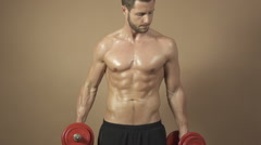 Slow motion male model fitness workout Stock Footage