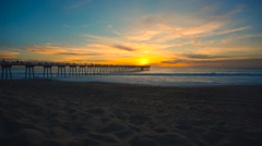 Ultra Wide of beach during sunset - stock footage