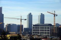high rise construction cranes - stock photo