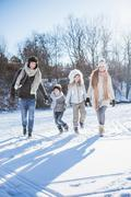 Happy family holding hands on a beautiful snowy day Stock Photos