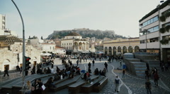 Monastiraki square Athens,Greece lockdown high angle slow motion 100p Stock Footage