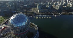 Winding aerial around science world Stock Footage