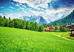 Beautiful little mountainous village Stock Photos
