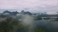 Ban Wang Khon, Surat Thani, Through Clouds, Lush Hills Stock Footage