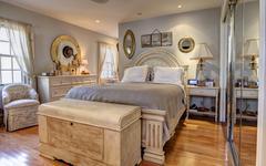 Stylish classic bedroom interior Stock Photos