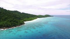 Similan Islands Fly Backwards Ascent Viewing Fish Like Island - stock footage