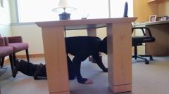 Ninja Going Through File Cabinet Stock Footage