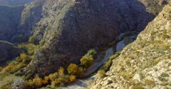 4K Aerial, Flight over a gorge and river in Andalusia, Spain Stock Footage