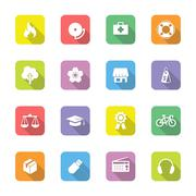 colorful flat miscellaneous icon set on rounded rectangle with long shadow - stock illustration