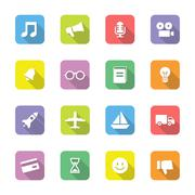 colorful flat transport and miscellaneous icon set on rounded rectangle & shadow - stock illustration
