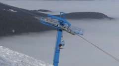 The bar of chair lift station on ski resort. Foggy weather. Stock Footage