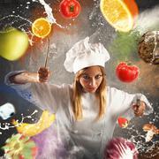 Angry and demanding chef - stock photo