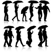 Black silhouettes man and woman under umbrella. Vector illustrat - stock illustration