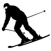 Mountain skier  speeding down slope. Vector sport silhouette. - stock illustration