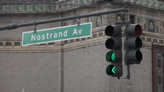 Nostrand Avenue Brooklyn Stop Light Stock Footage