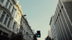 Sightseeing in Athens.Driving in the city vertical view,pov tilt up slomo. Stock Footage