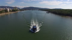 Aerial video boat cross the river Stock Footage