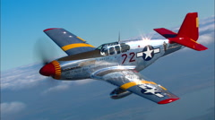 P-51 Mustang Red Tail Air to Air Stock Footage