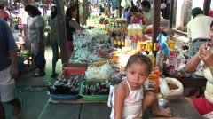 Bustling market place in Belen in Iquitos - stock footage