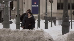 Brooklyn Hipsters in the Snowstorm - stock footage