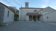 Beautiful view of a church in Krk Town, Krk Island Stock Footage