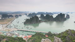 Aerial view of Halong Bay in Vietnam one of the Unesco World Heritage sites Stock Footage