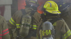Close up of fire fighters and fire Stock Footage