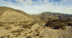 4K Aerial, Flight over a dry riverbed in a desert in Andalusia, Spain Stock Footage