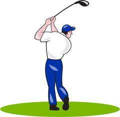 Golfer Swinging Club Circle Cartoon - stock illustration