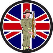 British World War II Soldier Union Jack Flag Cartoon Stock Illustration