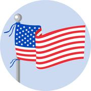 USA Flag Stars and Stripes on Flagpole Circle Cartoon - stock illustration