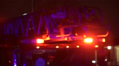 Aerial Fire Truck Flashing Lights Blur Focus Stock Footage