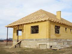 Building & Construction Site in progress to new house. Stock Photos