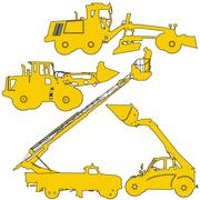 Set of silhouettes of construction machinery. Vector illustration Stock Illustration