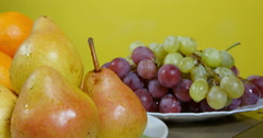 From pears to grapes, dolly shot, natural fruits extreme close up. Stock Footage